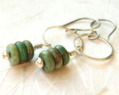 sterling silver dangle earrings with genuine turquoise beads