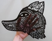 Wolf Original Papercut mask painted with gouache by Sarah Andreacchio