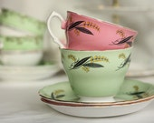 Royal Vale vintage bone china pink and green cups and saucers - 2 vibrant sets