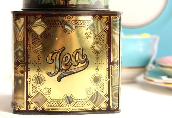 "English tin tea caddy / canister by Dodo Designs ""Dodo Canister"": from the 1960s a great collectable"