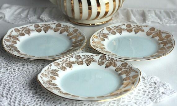 "Vintage bone china plates: set of 3 stylish ""Duchess china"" plates - lovely blackberry border and powder blue center"