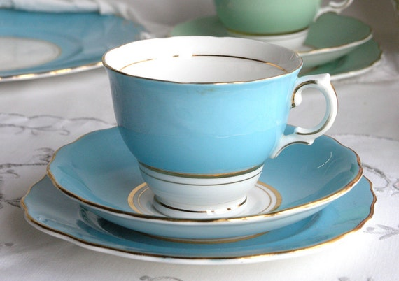 RESERVED FOR CARINA Vintage English bone china tea set - blue / turquoise Colclough cup, saucer and plate for a vintage tea party