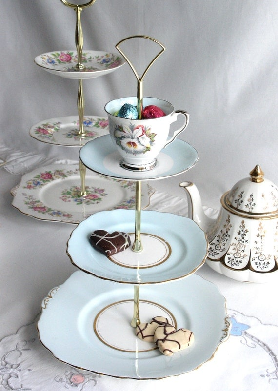 Delightful 3 tier cake / cupcake stand: perfect for a bridal or baby shower, vintage Colclough plates with Royal Stafford cup and saucer