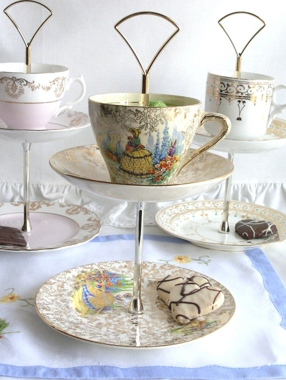 Pretty 2 tier mini cake stand / jewelry display - upcycled English Empire china cup, saucer and plate with crinoline lady pattern