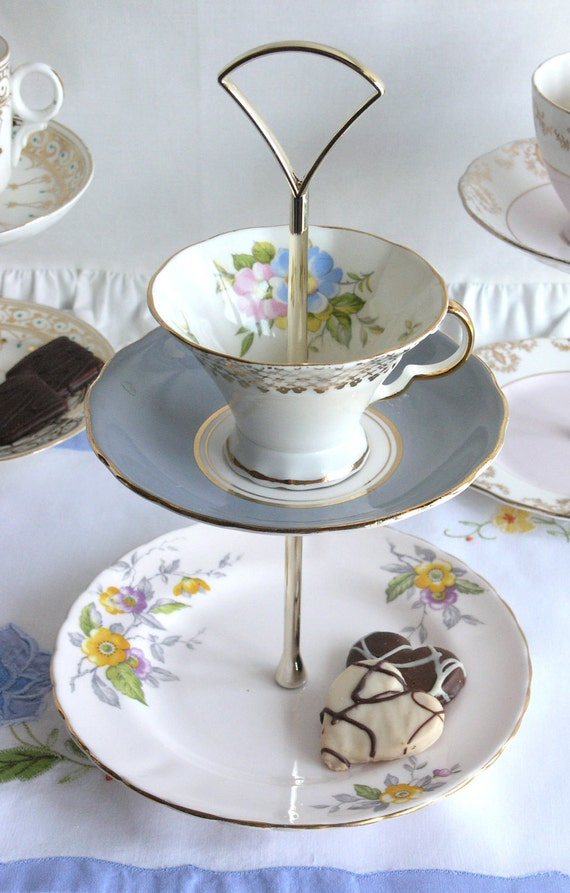 Delightful 2 tier mini cakestand / jewelry display made from upcycled English bone china: perfect gift for someone special