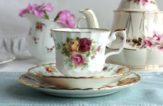 """English roses tea set: Royal Stafford 'Bouquet"""" bone china cup, saucer and plate, perfect for a summer tea party"""
