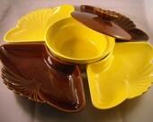 Retro California Pottery Veggies and Dip Set