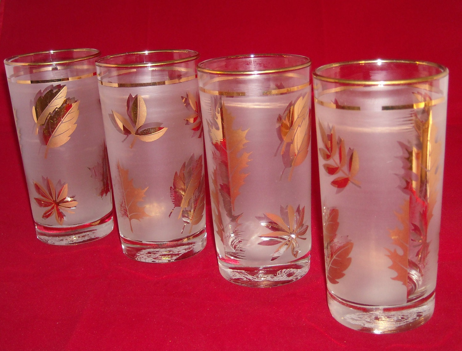 glass gold leaf drinking glasses by froggirlvintage on etsy