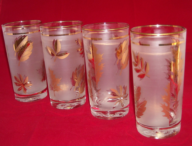 Glass Gold Leaf Drinking Glasses