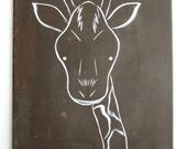 "Modern Kids and Nursery Art Original Painting 16"" x 20"" on regular 3/4"" depth canvas - The Giraffe"
