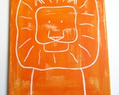 "No. 0017 - Modern Kids and Nursery Art Original Painting - 16"" x 20"" on regular 3/4"" depth canvas - The Lion"