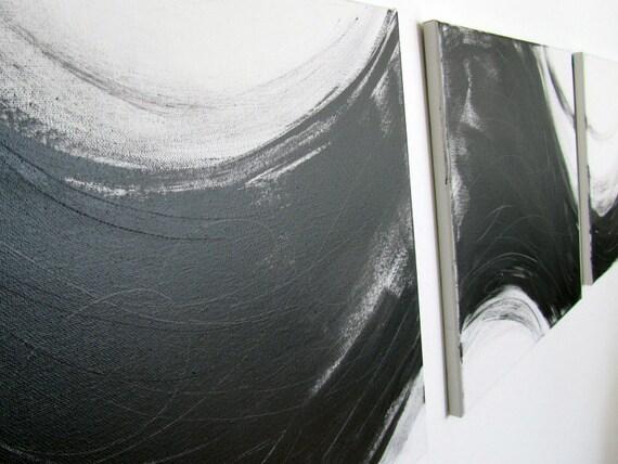 "No. 3 - Original Acrylic Paintings on regular 3/4"" depth canvas - Set of three 16"" x 64"" (Black and white)"