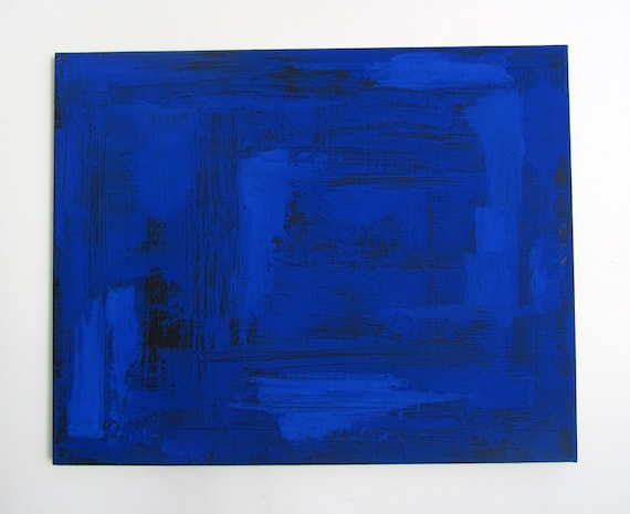 """No. 35 - Modern Abstract Painting 16"""" x 20"""" on regular 3/4"""" depth canvas - (Blue and black)"""