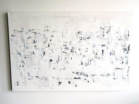 """No. 28 - Modern Abstract Painting - 24"""" x 36"""" on gallery style 1.5"""" depth canvas (Textured white with hints of black, blue and grey)"""