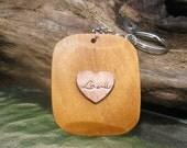 Natural Wood Keychain - Love