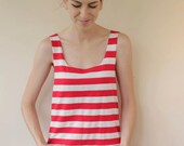 The Wunzy (onesie): Red and White Striped Cotton Romper Custom Made to Fit You