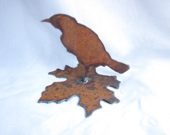 Bird on Leaf Rusty Metal Garden Art or Home Decor