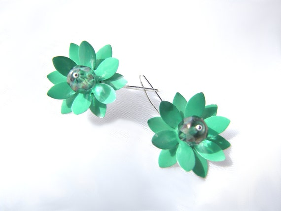 Aqua Lotus Earrings with Crystals, Recycled Arizona Tea Cans Eco Friendly Earrings