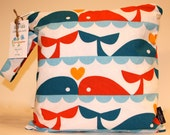 Wet Bag or Eco-bag with Snap Handle - Waterproof - Organic Cotton - Dan Stiles - Whale Love