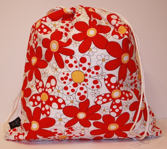 Wet Bag or Eco-Bag with Drawstring - Waterproof - Daisies and Dots - Red