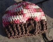 Baby Girl Crochet Hat 0 to 3 months READY TO SHIP