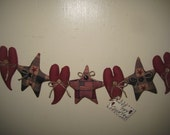 Primitive Handmade Americana 4th of July Patroitic Hearts Stars Fabric Ornies Bowl Fillers Decorations Garland