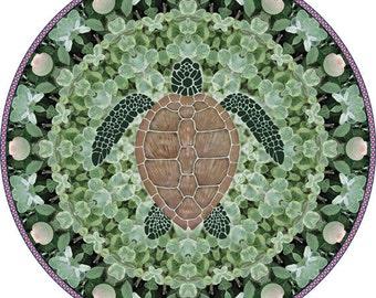 Sea Turtle Mandala, Sea Turtle Art Print, Botanical Mandala Art Print, Circle Art