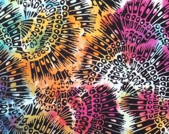 Batik fabric, overdyed, OOAK