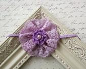 Lilac Lace headband, baby headbands, newborn headbands, lace headbands, purple headbands, photography prop