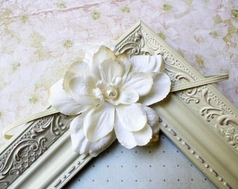 Ivory flower headband, baby headband, newborn headband, girls, wedding, photography prop