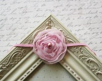Pink Chiffon Flower headband, baby flower headbands, pink headbands, baby headbands, newborn headbands, photography prop