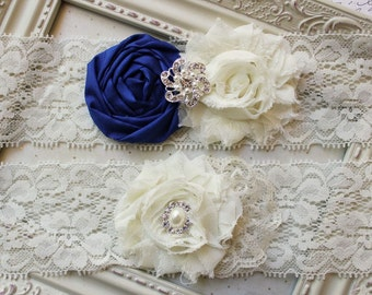 Royal Blue Silk and Lace Bridal Garter Set, ivory garters, ivory bridal garters, silk garters, blue garters, wedding garter, 2 inch lace