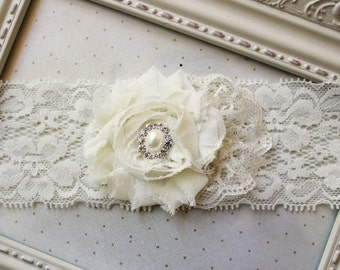 Ivory Chiffon Bridal Garter, wedding accessories, ivory bridal accessories, garters, ivory garters, single garter, single garters