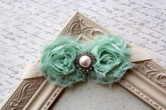Mint Green Chiffon flower headband, baby headbands, newborn headbands, photography prop, baby flower headbands