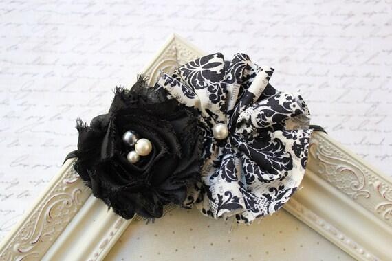 Black and Ivory Damask Headband, baby flower headbands, newborn headbands, photography prop
