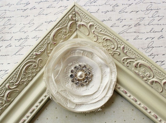 Ivory Satin and Lace Hair Clip, bridal hairpiece, bridal hair accessories, wedding hair clips, ivory hair clips