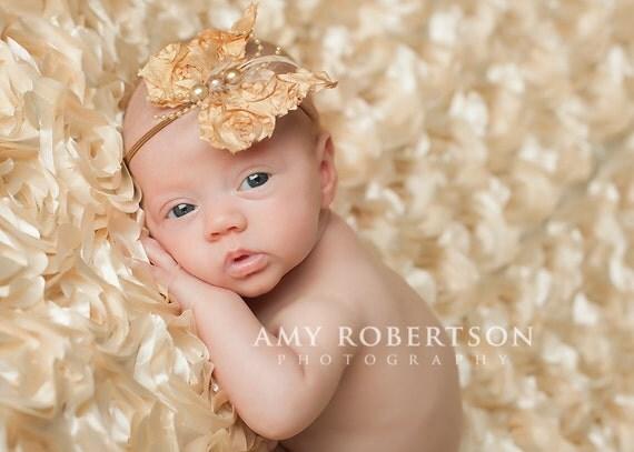 Golden Tan Butterfly headband, baby headbands, adult headbands, newborn headband, photography prop