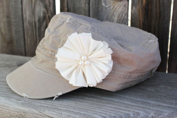 Womens Distressed Military Hat, womens hat, womens khaki hat, hats, cadet hat, cadet hat