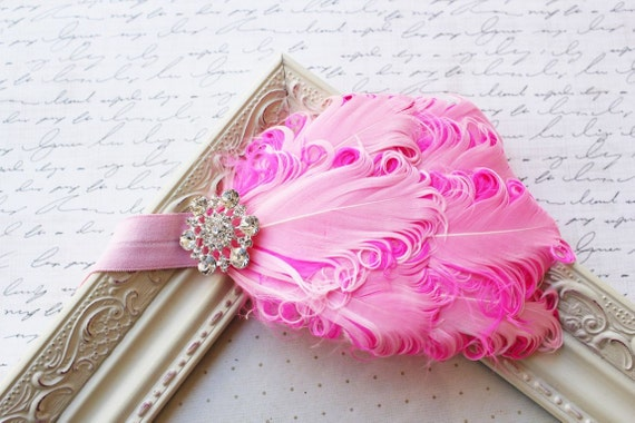 Hot Pink and Light Pink Nagorie Feather Headband, pink headbands, pink headbands, baby headbands, newborn headbands, photography prop