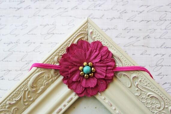 Fuschia Linen Flower Headband, flower headbands, baby headband, pink headbands, child headbands, newborn headband, photography prop