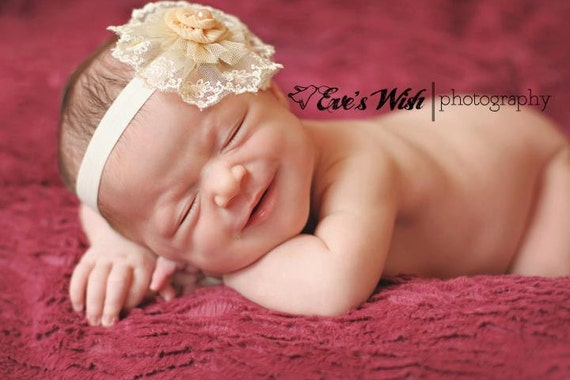 Ivory Lace flower headband, baby flower headbands, peach headbands, lace headbands, newborn headbands, photography prop