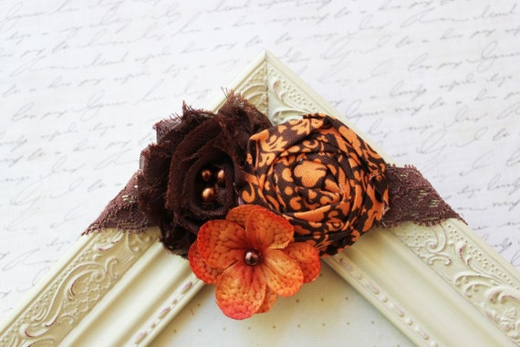 Orange and Brown Flower Headband, baby headbands, orange newborn headbands,flower headbands, photography prop, fall heaadbands
