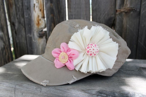 READY TO SHIP, Childrens Distressed Military Hat, ages 3-8yrs, childrens khaki hat, hats, childrens hat, cadet hat, girls hats