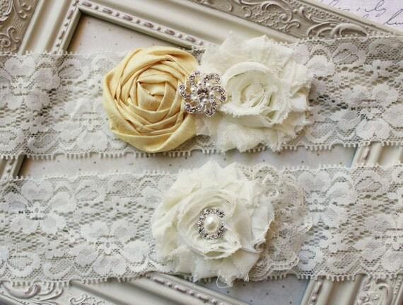 Yellow Silk and Lace Bridal Garter Set, ivory bridal garters, wedding garters, boudoir garters, 2inch lace, yellow garters