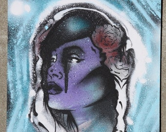 Native American Style Stencil Female Aerosol and Acrylic Painting by Adam Valentino