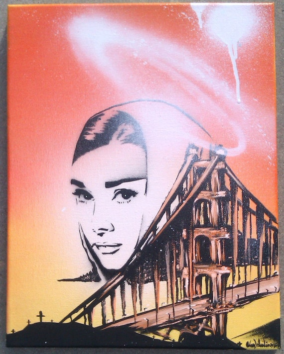 11X14 Audrey Hepburn Angel Golden Gate Bridge Orange & Yellow Original Stencil Painting by Adam Valentino