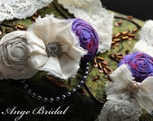 Wedding Garter Set, SILK, Bridal garter, Vintage Garter, Garter Set, Purple Garter, Wedding Garter