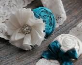 ON SALE/Teal Silk Garter set (design B)