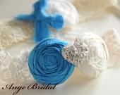 Wedding Garter Set, SILK Wedding Garter, Something Blue wedding garter, Wedding Garter, Garter Set/ Bridal Garter, Vintage Wedding Garter