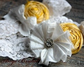 ON SALE/Silk Garter set (design B)- Sunny Yellow